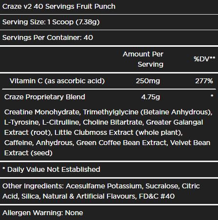 craze-v2-pre-workout-ingredients