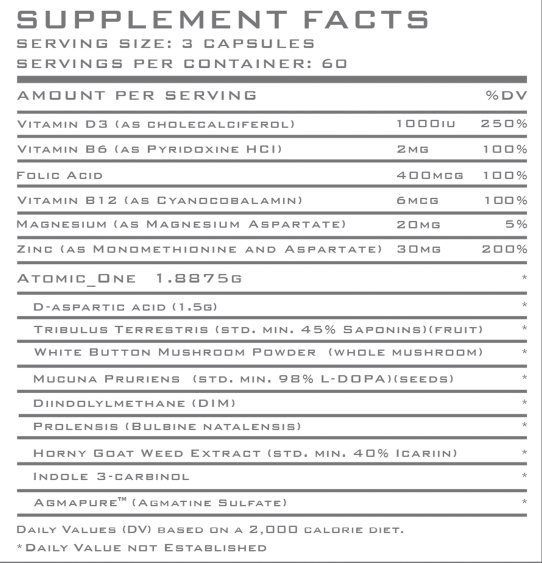 Atomic Strength Nutrition Atomic One Ingredients#
